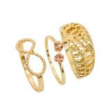 O ouro aberto dos anéis do cristal alaranjado requintado chapeou o jogo do anel da planta do Bowknot