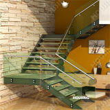 Tempered Glass Railing를 가진 실내 Straight Staircase