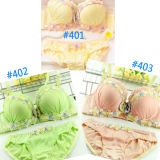 Nylon 3/4 Cup Underwear Set Gather Style con Lace