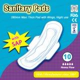 El uso de la noche 280mm de espesor Maxi toallas sanitarias, la FDA. Certificación CE