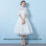 A - линия платье выпускного вечера партии вечера втулки белой краткости шнурка половинное