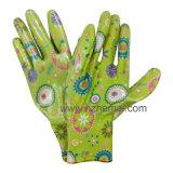 De bloem Afgedrukte Nitril Met een laag bedekte Handschoenen van de Tuin van de Dames van de Handschoen van het Werk