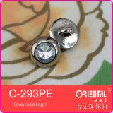 Silver lucido Button con Clear Stone
