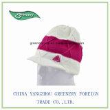 白い冬簡単な様式の暖かいニットの帽子