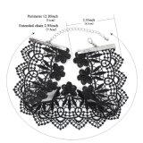 O laço Handmade preto largo étnico do Crochet torna ôca para fora a colar do Choker da indicação da flor