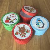 Nueva ronda de cajas de regalo de Navidad papel redonda pequeña caja de regalo