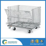 Warehouse Storage Foldable Stacking Steel Wire Mesh Container with Casters
