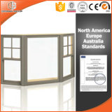 Bahía del uso casero y ventana de arqueamiento fija exterior, bahía de aluminio modificada para requisitos particulares de la rotura termal revestida de madera sólida de la talla y ventana de arqueamiento