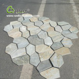 LandscapeのためのSt014 Yellow Wood Slate Crazy Meshed Paving Stone