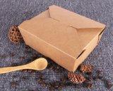 使い捨て可能Bentoのお弁当箱のクラフト紙の食糧容器を取り除きなさい