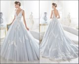 Decote em V Blue Ball Robes Applique Lace Suite Wedding vestidos Z5054