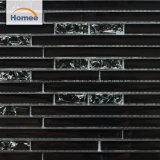 Mattonelle di mosaico di vetro delle mattonelle della striscia di scintillio del ghiaccio di Crackle del nero di vetro del Buy