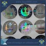 Collant de Anti-Contrefaçon d'hologramme de garantie avec le numéro d'impression