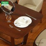 Table à manger en bois massif avec placage de noyer