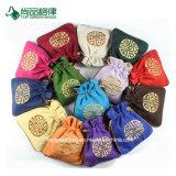 Personalizzare i sacchetti di Drawstring poco costosi del tessuto del sacchetto del Drawstring del cotone della mussola dei piccoli reticoli Double-Deck del ricamo