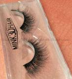 Pestañas falsas naturales de los latigazos hechos a mano del pelo del visión de la pestaña 3D de la escritura de la etiqueta privada
