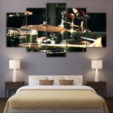 5 instruments de musique de Drummms d'éléments ont estampé la décoration modulaire de chambre à coucher de pièce d'art de mur de toile de toile