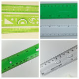 機能プラスチック幾何学のテンプレートの定規および学校の定規