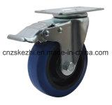 파란 고무 피마자 바퀴