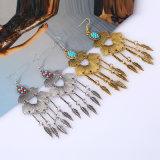 Pendiente de caída retro de la hoja, pendientes gitanos de plata de la boda para las mujeres