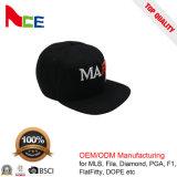 Крышка Snapback логоса вышивки шерстей 3D черноты изготовления шлемов Гуанчжоу акриловая