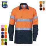 2つの調子の構築のためのオレンジ反射トリム作業ワイシャツ