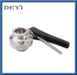 La vanne papillon manuelle sanitaire de bride d'acier inoxydable de SS304/316L avec la bride termine (DY-BV1007)