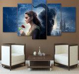 belleza del arte de la lona 5planes y la decoración decorativa moderna de la pared de la nave de la gota del cuadro del cartel de película de la pintura de la bestia para la sala de estar