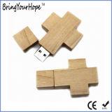 Деревянный перекрестный привод памяти USB Иисус конструкции (XH-USB-100W)
