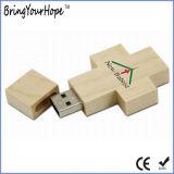 O design da cruz de madeira Jesus uma unidade de memória USB (XH-USB-100W)