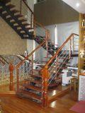 Алюминиевый корпус из нержавеющей стали поддерживать древесины из ПВХ поручень лестницы
