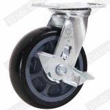 Da roda resistente do poliuretano do rolamento de esferas da precisão dobro rodízio industrial