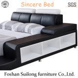 Lb3317 cama moderna em pele genuína
