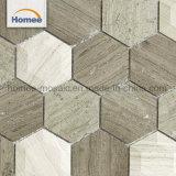 Het goedkope Afgeschuinde Lichte Mozaïek van de Vorm van de Steen Woodline Hexagon Grijze Marmeren