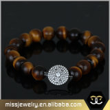 Tiger-Augen-Stein-Charme-wulstiges Armband Mjbe008
