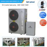 - 25c低温領域のEviの空気ソースヒートポンプ12kw/19kw/35kw/70kwの床かラジエーターの暖房+ 55c熱湯の熱のボイラー