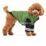 深緑色の厚い冬の綿ペットベスト犬のコート
