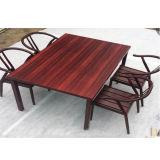 Da mobília de madeira ao ar livre 6 Seaters do pátio do jardim do projeto da conveniência tabela e jogo removíveis azuis da cadeira