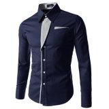 2017 neue beiläufige Hemd-Long-Sleeved Mann-Hemd-Geschäfts-beiläufige nehmen passendes männliches Hemd ab