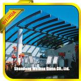 10m m vidrio laminado del balcón del pasamano seguro y transparente de 12m m con precio del edificio