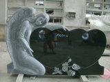 Lapide nera/bianca di angelo del granito del cuore del monumento del Headstone per il funerale