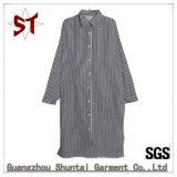 Großhandelsform-Streifen-Polo-Muffen-langes Hemd-Kleid