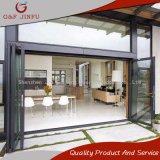 Puerta de plegamiento de cristal clara doble de aluminio impermeable para el uso exterior