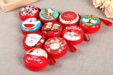 Venta caliente Navidad Mini Zipline bolsas de monedas de metal redondo