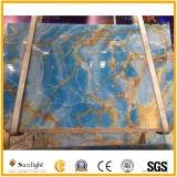 Blauwe Onyx van de Luxe van China het Natuurlijke Opgepoetste voor de Vloer/de Muur van de Binnenhuisarchitectuur