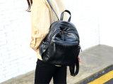 Мешок школы Backpack PU вскользь двойных женщин застежки -молнии кожаный (WDL0914)