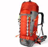 屋外60L旅行倍肩によって補強される防水黒い山のバックパック