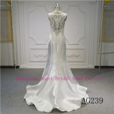Nettes v-Stutzen-Satin-und Spitze-Hochzeits-Kleid