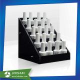 Étalage acrylique de rangée de vernis à ongles, étalage acrylique d'échelle d'émail de clou avec la poche latérale