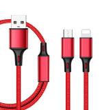 2 en 1 câble USB, câble de données USB tressé en nylon